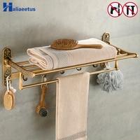 Nail Free Foldable Antique Brass Bath Towel Rack Active Bathroom Towel Holder Double Towel Shelf With Hooks Bathroom Accessories