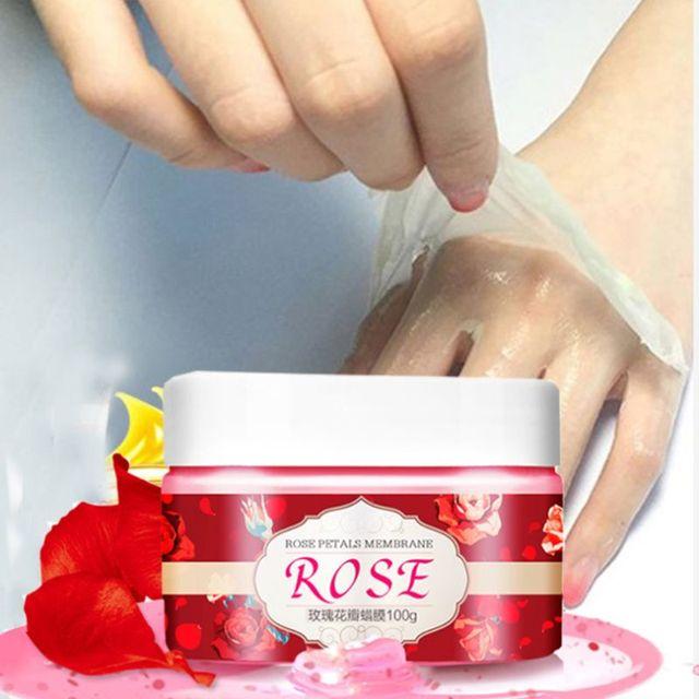 Máscara de mano manos CUIDADO HIDRATANTE nutrir crema exfoliante película blanqueamiento eliminar la piel muerta cera Rosa crema hidratante