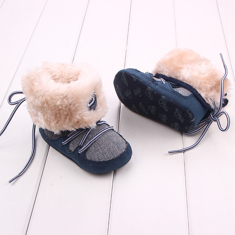 Baby Winter warme Schnee Stiefel Canvals Lace Up weiche Sohle Schuhe - Babyschuhe - Foto 3