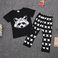 Baby Clothes Suit Black Pant Cross Racoon T Shirt Boys 2-Pieces Sets Newborn tshirt trouser 0-3Years Tee Shirt+Trouser Tops