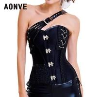 Aonve Gothic Overbust Corset Black Pink Women Bustier Goth Korse Steampunk Sexy Clubwear Woman Body Modeling Corsets S 2XL