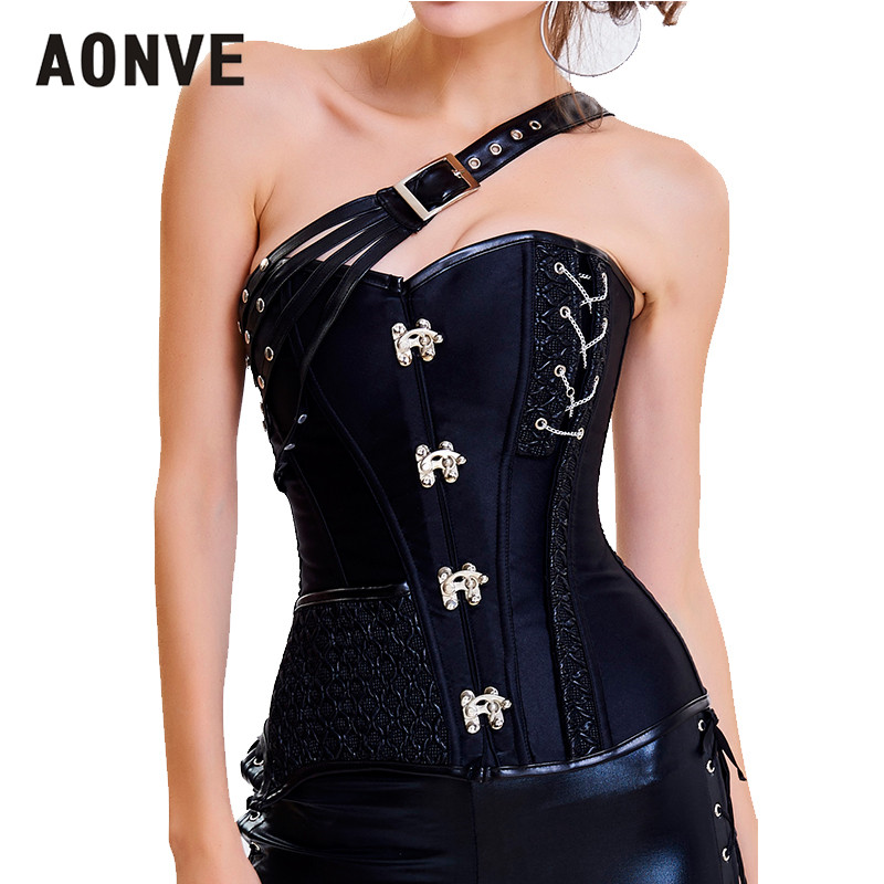 Aonve Gothic Overbust   Corset   Black Pink Women   Bustier   Goth Korse Steampunk Sexy Clubwear Woman Body Modeling   Corsets   S-2XL