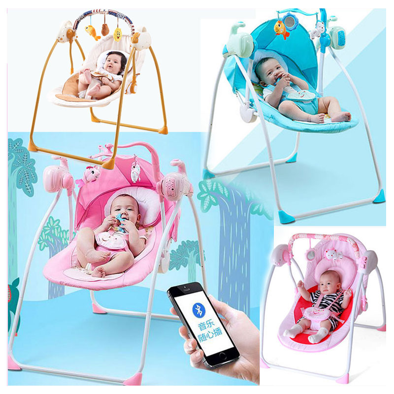 Bluetooth Remote Control Baby Toddler Swing Newborn Rocking Chair Recliner Swinging Lounge Chair Cradle Bouncer 0~3 Years baby rocker stroller newborn baby rocking hose swing chair cradle portable baby bouncer toddler sleeping lounge seat recliner