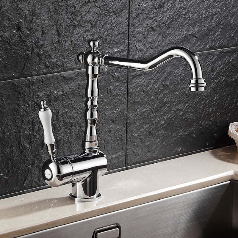 Brass Kitchen Faucet Mixer Tap Deck Mounted for Sink or Basin Single Handle Single Hole Hot and Cold Water Taps Bathroom chrome brass bathroom basin faucet counter top cold and hot water mixer tap sink single handle hole bath room taps