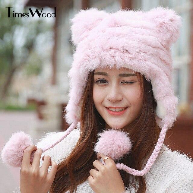 Bear Ear Real Rabbit Fur Hat Winter Fur Wool Knit Thick Warm Head Hats  Beanie Plush Snow Cap Bonnet Gorros De Lana Stocking Caps f76afa911a1f