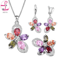 ZHE FAN Fashion Ladies Jewellery Sets Girl Flower Ring Earrings Necklace Green Blue Red Zircon Bridal Jewelry Set Gift Box