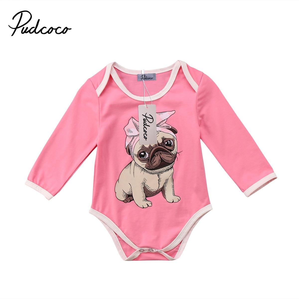 2018 Super Nette Kleinkind Neugeborenes Mädchen Bulldog Langarm Body Strampler Outfits Tier Druck Kleidung