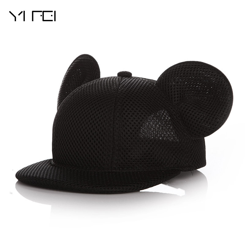 цены 2017 children Lovely Mickey Big Ears Baseball Cap Girls Cute Mouse Hip Hop Caps Casual Summer Mesh Sun Hats Casquette Gifts