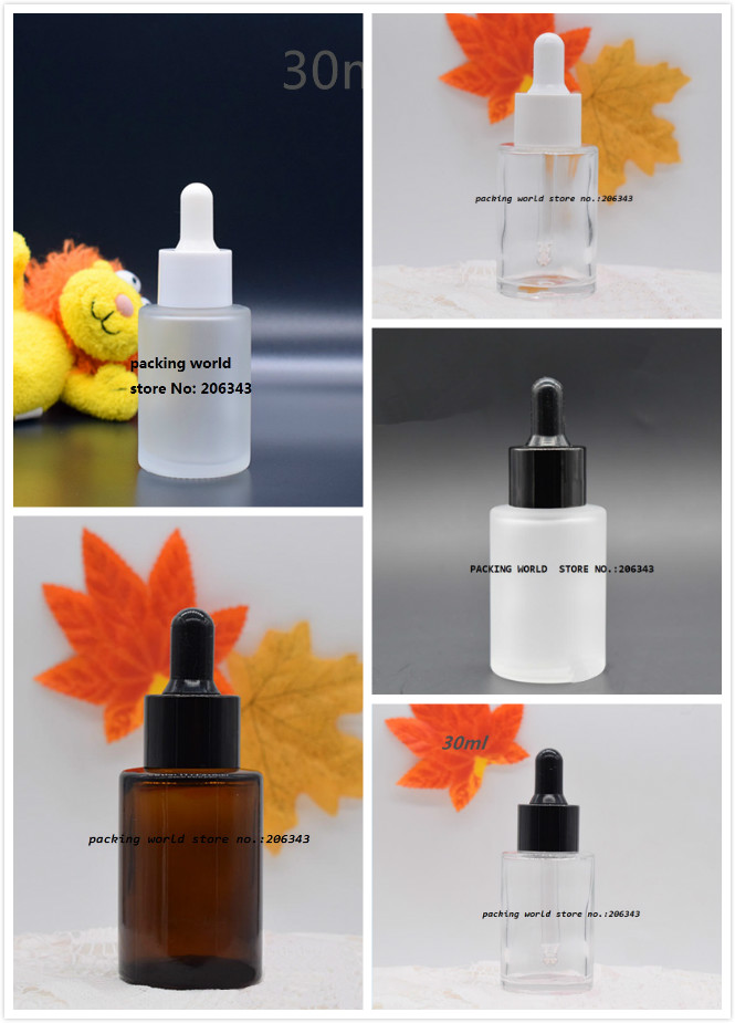 30ML frosted transparent brown glass bottle for serum essence essential oil water liquid dropper bottle cosmetic