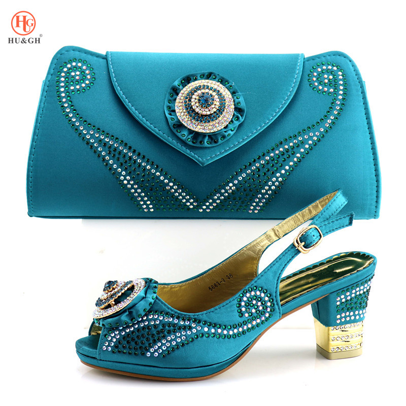 Lake Blue African Shoe and Bag Set Italian Shoe with Matching Bag Summer Sandals Ladies Matching Shoe and Bag Italy For Wedding hot glitter italy matching shoe and bag set with shinning stones with free shipping for party in sl08 size 39 43 red