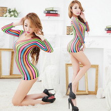 Sexy Beautiful Colorful Lace Temptation Perspective Sexy Hollow Out Transparent Skirt Costume Siamese Women Sex Products