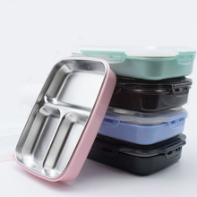 Colorful Bowl Lunch Storage Box Food Tray Stainless Steel Solid Portable Separate School Big Capacity Container 1pcs