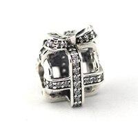 100% 925 Sterling-Silver-Gioielli All Wrapped Up Regalo con Clear CZ D'argento di Fascini Misura Branelli Del Braccialetto per monili Che Fanno
