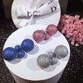 Double Side 925 Sterling Silver Pearl Balls Stud Earrings for Women Fashion Candy Colors Female Pusety Earring Jewelry Brincos