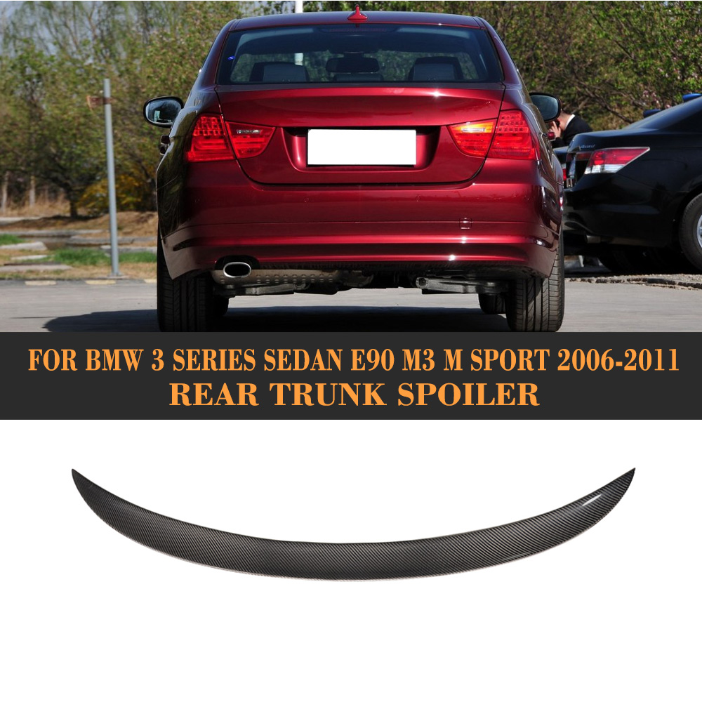 3 Series Carbon fiber Rear trunk wing Spoiler for BMW E90 Sedan 4 Door 06-11 M3 M Sport 323i 325i 328i 335d 335i P Style