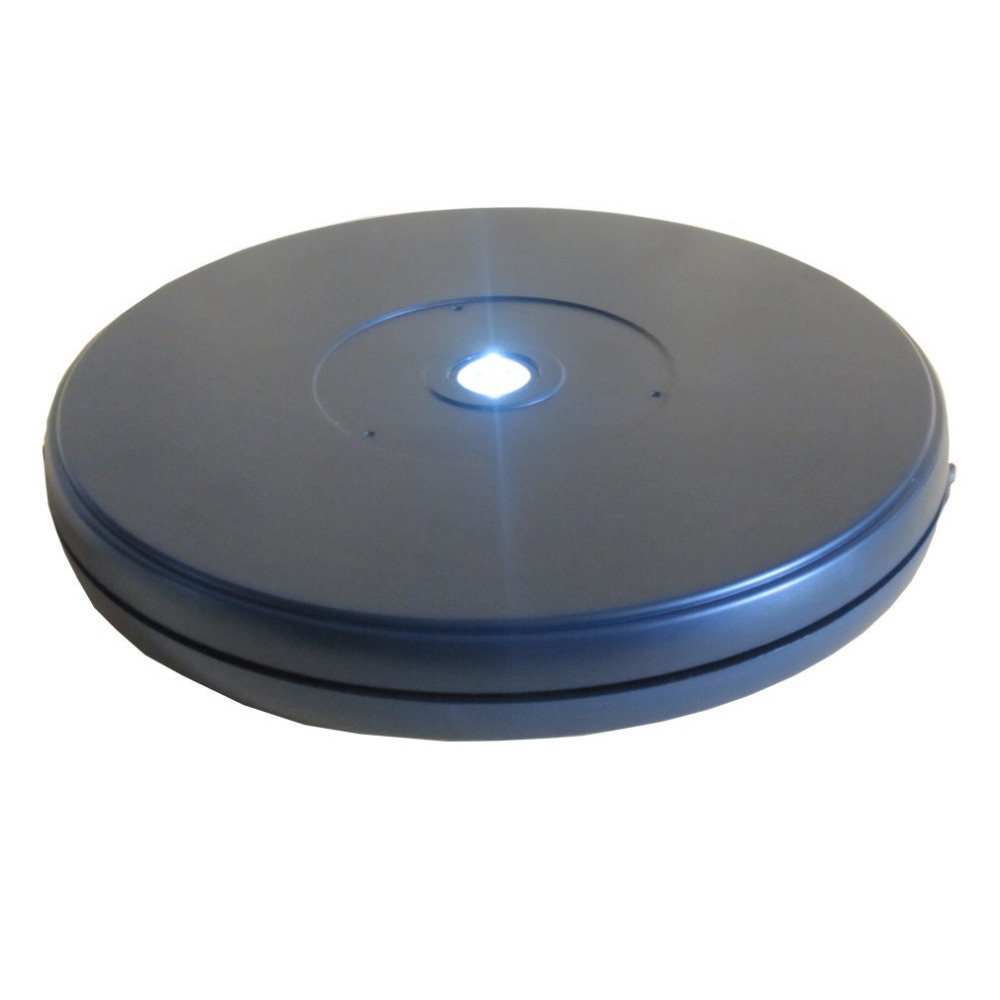 25cm Diameter Black Heavy Duty Rotating Display Stand Rotary Turntable with LED Light (10KG Centric Loading Capacity)