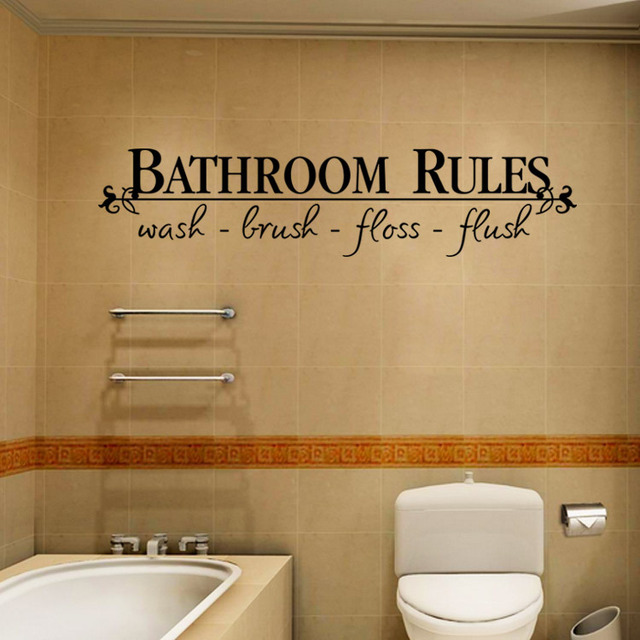 Bathroom Rules Waterproof Wall Decal Sticker Wash Brush Floss Flush Quote Decoration Home Decor