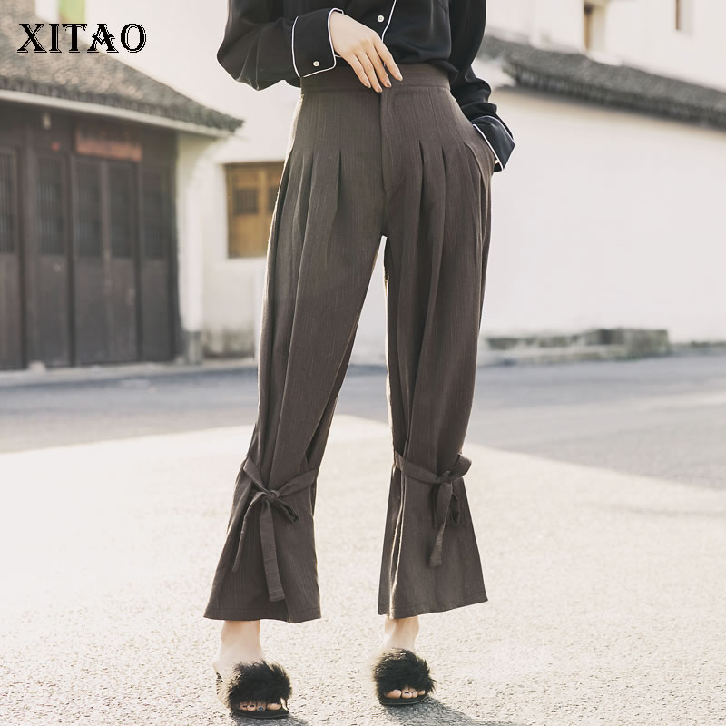 [XITAO] winter spring loose loose bandage   wide     leg     pants   female solid color Vintage bow button fly ankle-length   pants   WBB1504