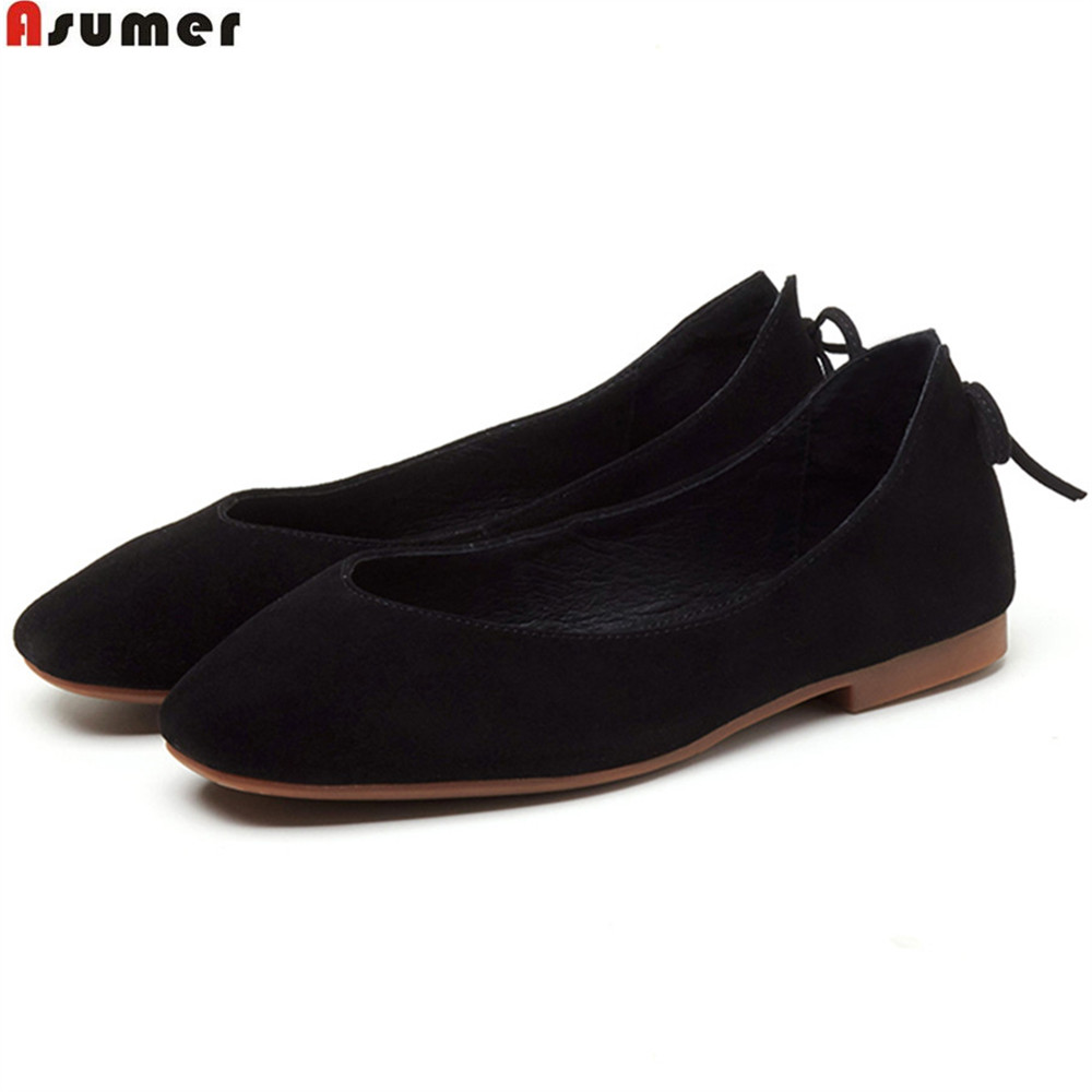 ASUMER black red pink fashion spring autumn new 2018 square toe shallow casual ladies shoes women suede leather flats shoes велотренажер ременной iron body 7255вк