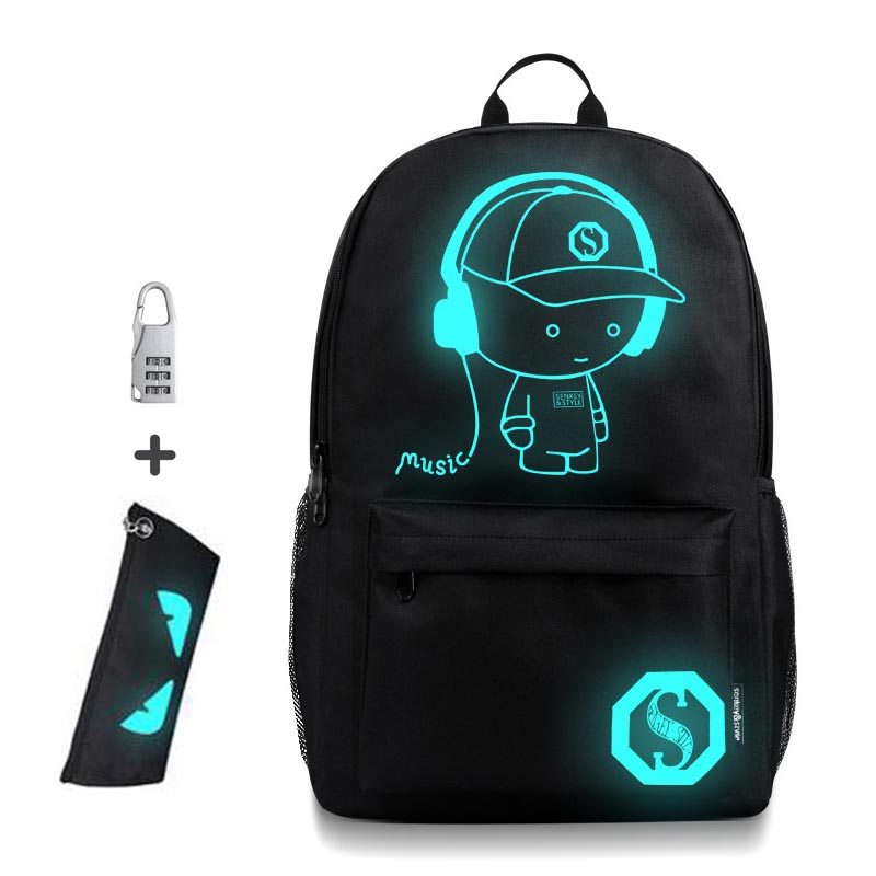 Anti-thief Bags Nightlight Children School Backpack Wich Pencil Case Anime Luminous School Bags For Boy Girl Student Schoolbag