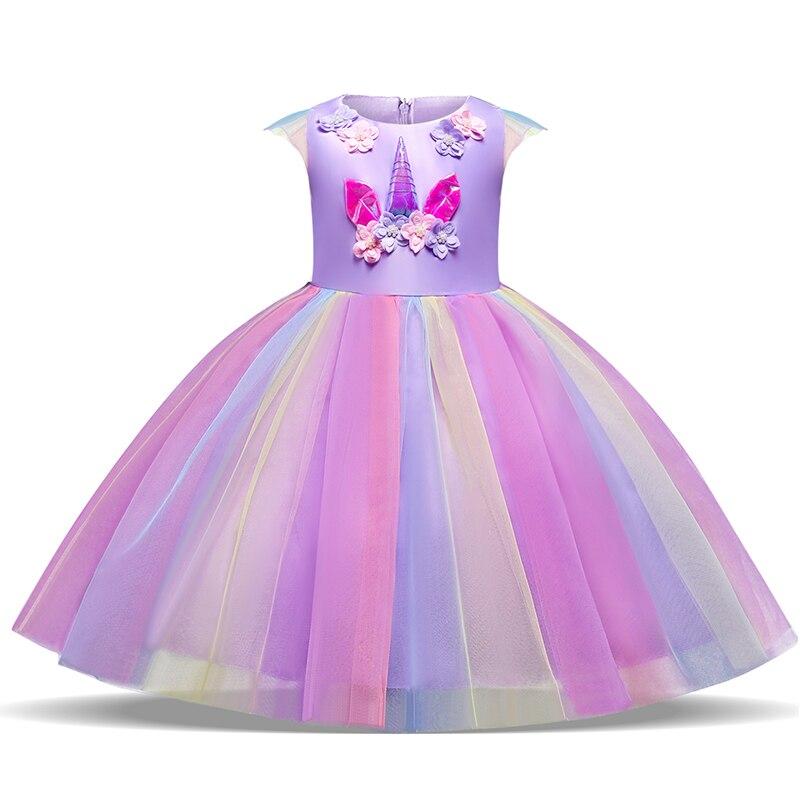 fe18cbe0 Праздничное платье принцессы с единорогом, летняя брендовая одежда для  вечерние, Платья с цветочным узором