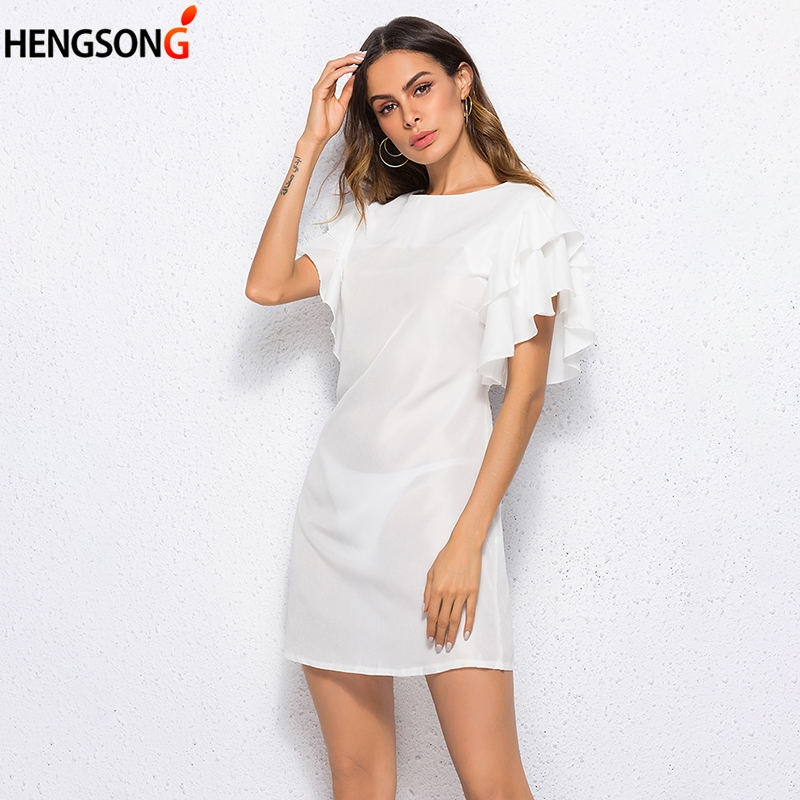 Fashion Ruffles Dress Women's Summer Dress Lotus Sleeve O Neck Solid Striaght Mini Dress Female Dress Vestidos Women Clothing