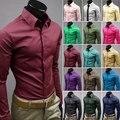 [Tamanho asiático] novo 2016 Camisas Dos Homens de Estilo Britânico Masculino Longo-Luva Magro Ocasional Camisas de Negócios dos homens Sólidos Vestido Preto Branco camisa