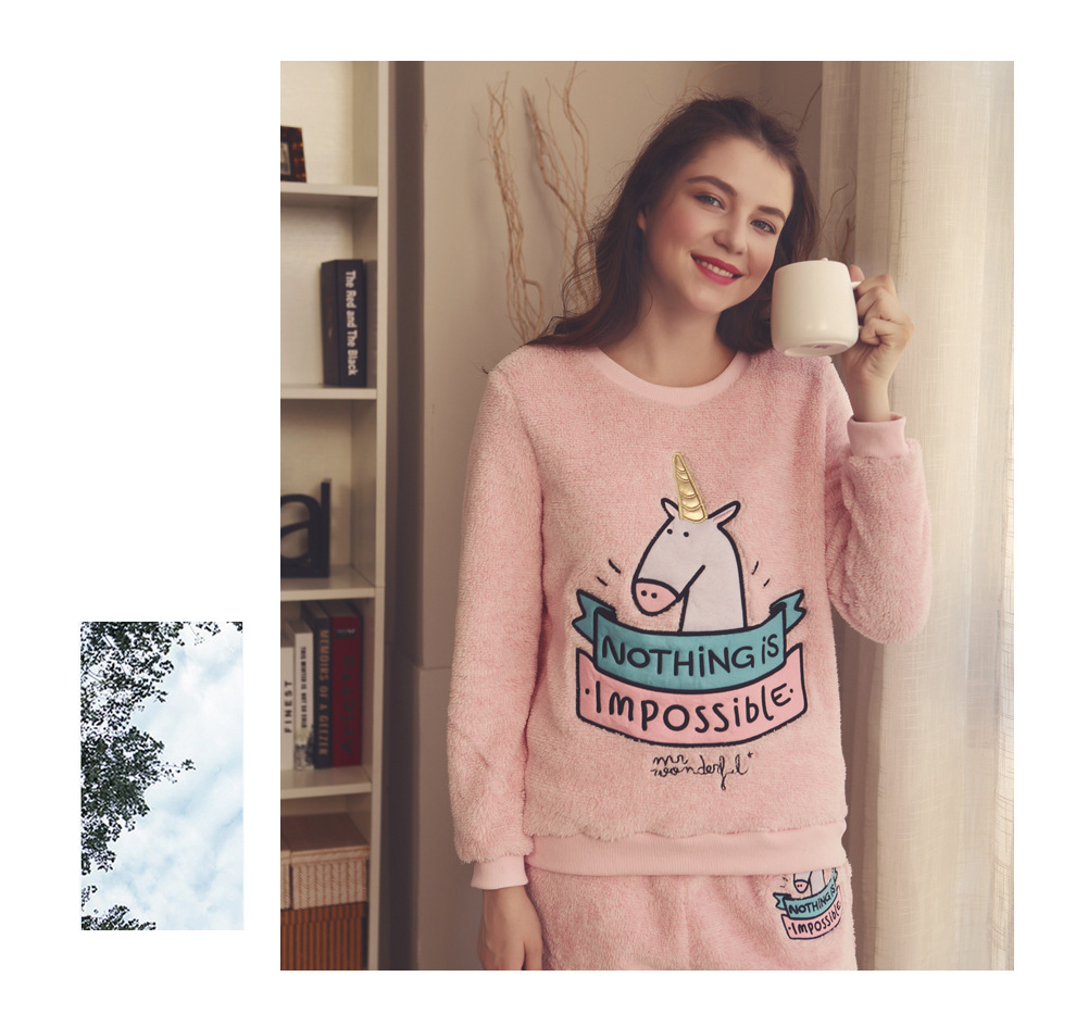 High quality coral velvet letter unicorn pajamas for adults lounge sleepwear flannel homewear onesies stitch kugurumi for womens