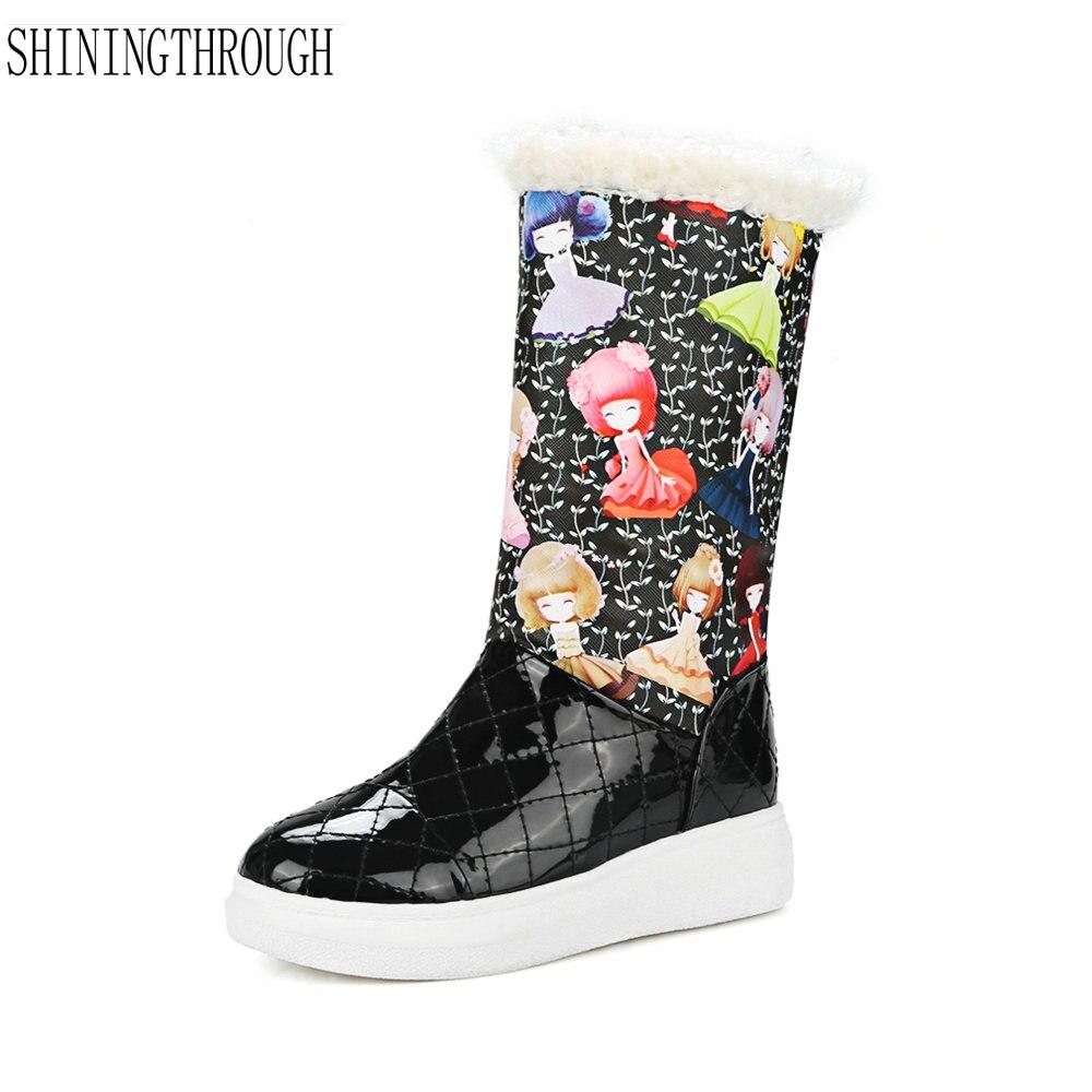Mujer Zapatos Dulce Femenino Nieve Caliente Casual blanco Nueva Botas Invierno Mujeres De Negro wzFUOHqngx