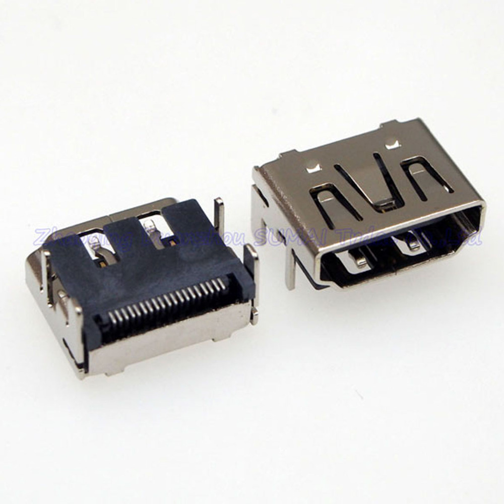 15 pcs Good Plated HDMI Female Jack 19pin Connector 2 rows 90 Degree