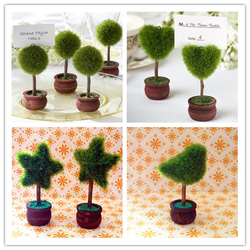 Green Tree 10pcslot Topiary Tree Garden Theme Place Card Holder Table Name Number Holder