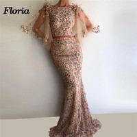 African Mermaid Flower Evening Dresses Abiye Muslim Sleeves Formal Prom Gowns robe de soiree longue 2018 Kaftans Abendkleider