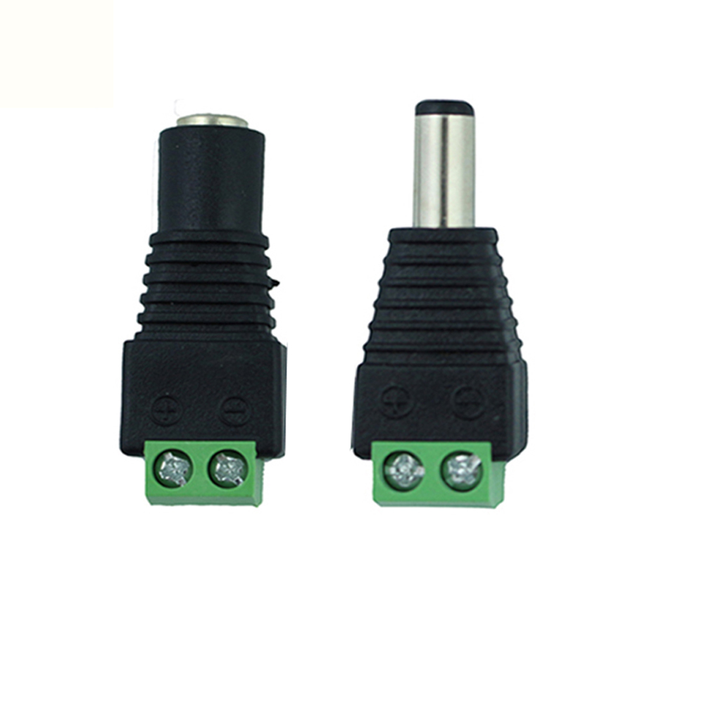 1PC Strip Connector Male Female 2.1x5.5mm Jack DC Power Adapter Connector For 3528 5050 5630 Strip CCTV Camera Black X