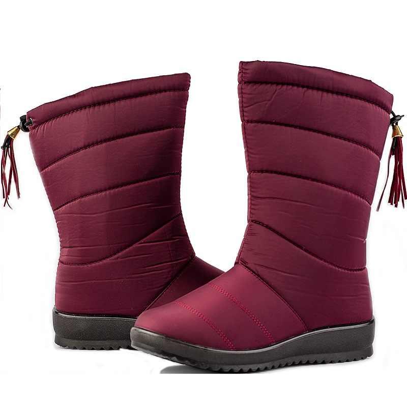 ผู้หญิงข้อเท้าหิมะรองเท้าบูทหญิงลง Plush ฤดูหนาวสูงรองเท้าสาว Fringe กันน้ำขนสัตว์ Sapato Feminino