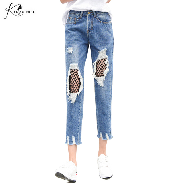 7d0bac2c66 2018 verano moda mujer Denim Pantalones flaco Vaqueros mujer señoras  ocasionales agujero Jean ripped Vaqueros para