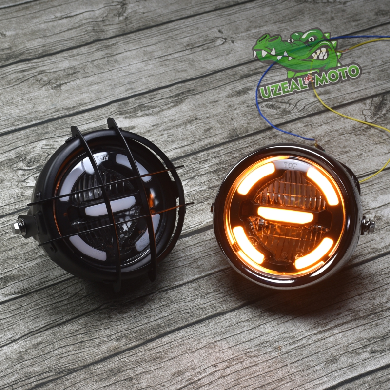 6 5inch universal Retro motorcycle modification LED headlight lamp with Guard Cover yellow driving light GN125 250