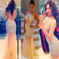 Sheer Tulle Prom Dresses 2016 Vestidos De Festa Crystal Beads Stones Backless Sexy Evening Party Formal Gowns E201682