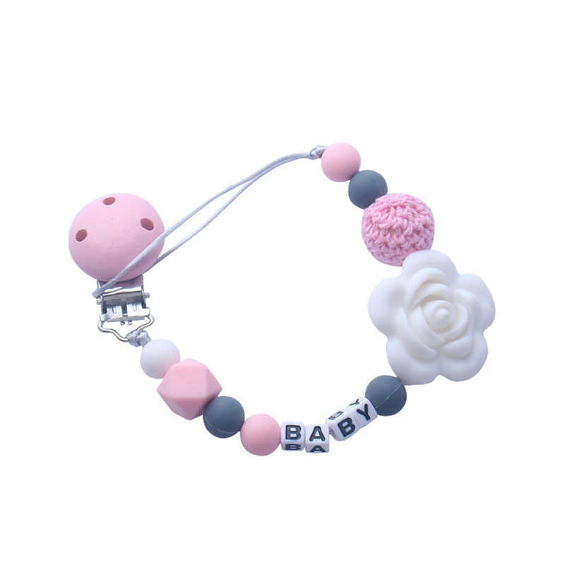 Personalized Name BPA Free Materials Baby Teether Nursing Accessories 1PC Silicone Flower Pacifier Chain