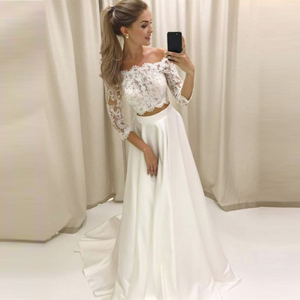 robe de marier Two Piece Wedding Dresses Off Shoulder 3 4 Sleeves Lace Satin Wedding Gowns