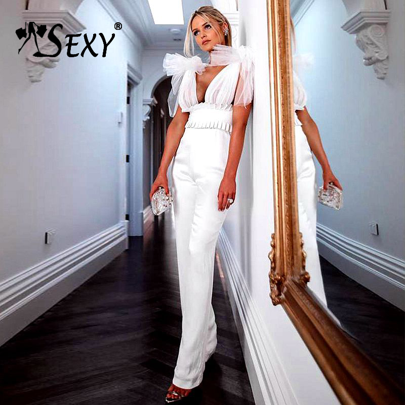 Gosexy 2019 New Women Deep-V Bandage Jumpsuit Sleeveless Backless Lace Bow Mesh Front Long Pants Party Bodycon Rompers Jumpsuit
