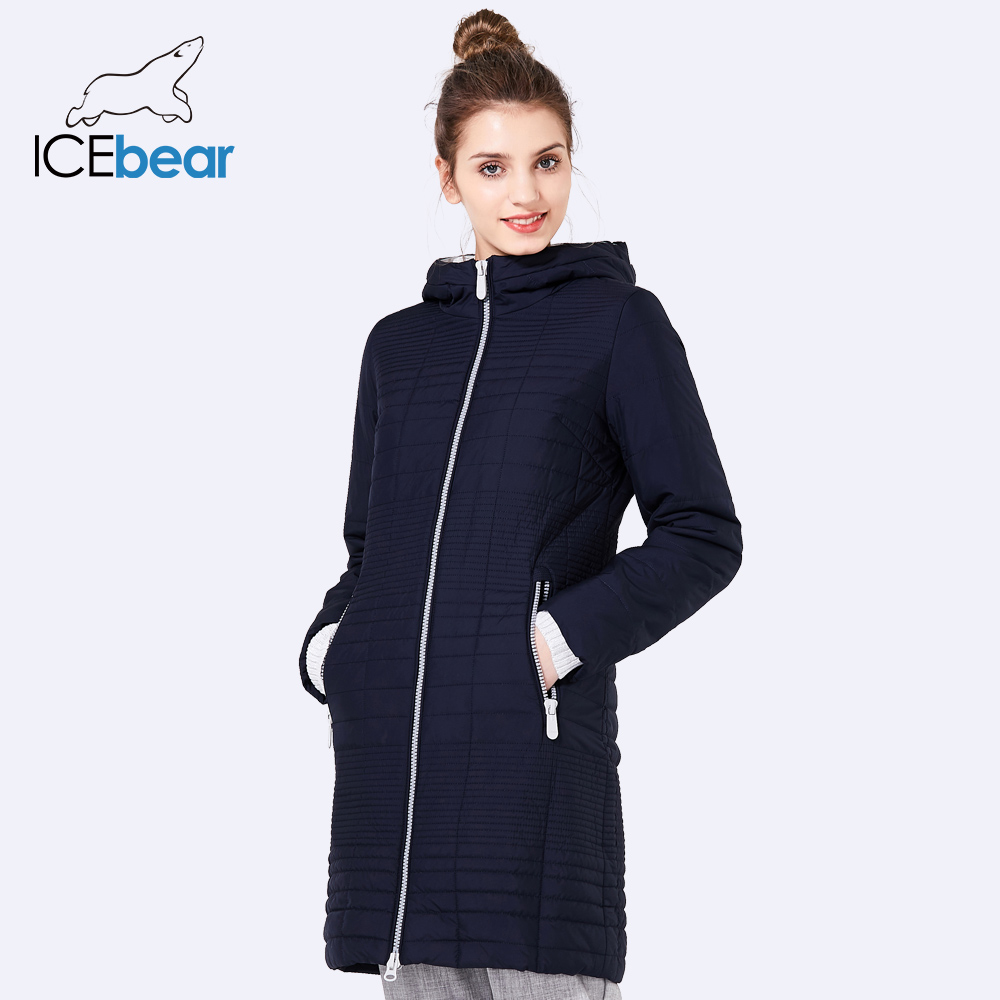 ICEbear 2019 Fall Long Cotton Women's Coats With Hood Fashion Ladies Padded Jacket Parkas For Women 17G292D-in Parkas from Women's Clothing    3