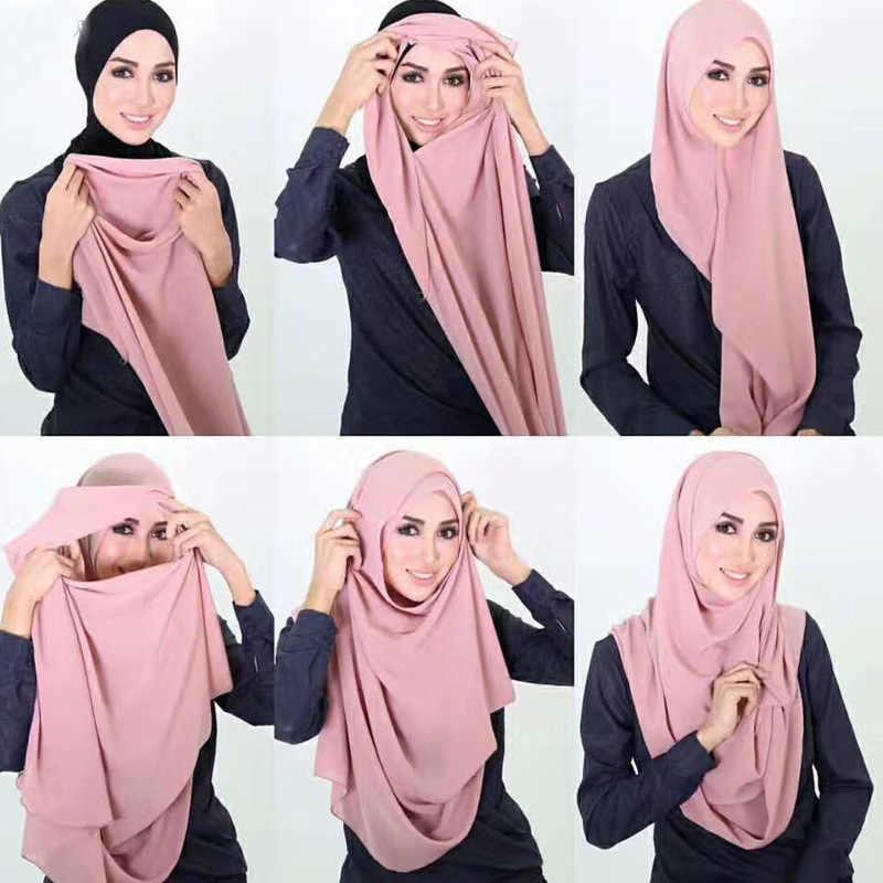 72*175 Cm Chiffon Double Loop Jilbab Instan Femme Musulman Islam Jilbab Pakaian Syal untuk Musim Panas