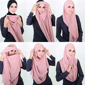 72*175 cm szyfonowa podwójna pętla natychmiastowy hidżab femme musulman islamskiej chusty odzież szale na lato