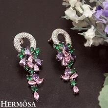 Hermosa Women Earrings Natural Stone Kunzite Peridot Birthstone Princess Jewelry 2 inch Free Shipping