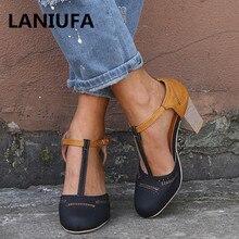 0557027987 Summer Women Pumps High Heels Shoes Women ladies Classics Platform Round  Toe T-tied Square heel Wedding dress shoes mujer #580