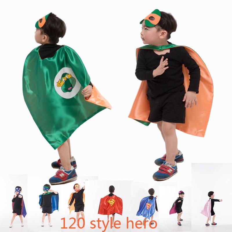 2017 Hot Sale Double Side L70*70cm Kids Superhero Capes and Masks Batman Spiderman Flash Supergirl Batgirl for Birthday Gifts ninja ninjago superhero spiderman batman capes mask character for kids birthday party clothing halloween cosplay costumes 2 10y