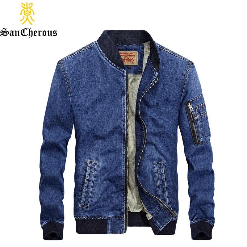 2019 New Arrival Denim Spring Autumn Winter Jacket Men Fleece Jeans Jacket 2 Colors Outerwear Windproof Coat-in Jackets from Men's Clothing    1