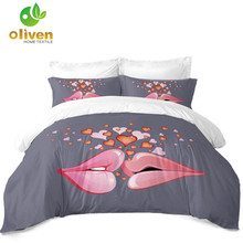 Valentines Day Bedding Set Couples Lips Kiss Duvet Cover Romantic Heart Print King Queen Pillowcase Home Decor D45