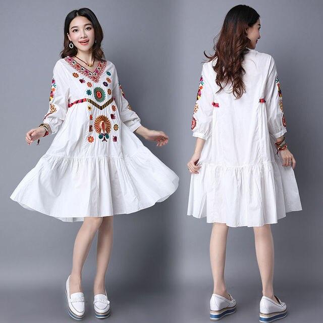 47e23a843 € 18.9 |Gran venta Vintage 70 s mexicano bohemio Hippie Floral bordado  étnico suelto blanco largo Chic mujeres vestido envío gratis en Vestidos de  ...