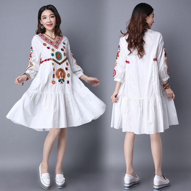 4a1e7e9f5e9 Hot Sale Vintage 70s Mexican Boho Hippie Floral Embroidered Ethnic Loose  White Long Chic Women Dress Free Shipping